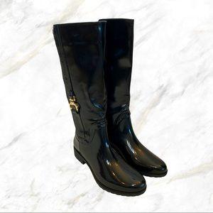 Wilady | Calf Detailed Black Tall Rain Boots